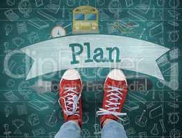 Plan against green chalkboard