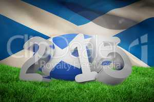 Composite image of scotland rugby 2015 message
