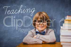 Teaching against blue chalkboard