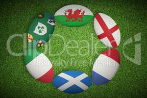 Composite image of six nations rugby balls