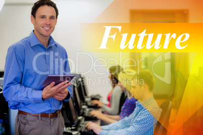Future against teacher with students using computers in computer