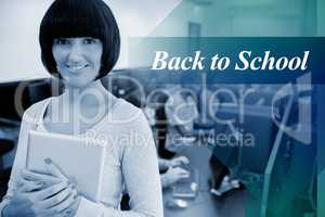 Back to school against teacher with tablet pc