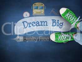 Dream big against blue chalkboard
