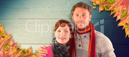 Composite image of couple holding each other