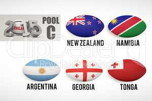 Composite image of england rugby 2015 message