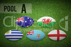 Composite image of rugby world cup pool a