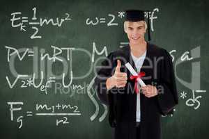 Composite image of happy teen guy celebrating graduation