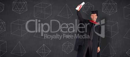 Composite image of smiling handsome boy showing his diploma to t