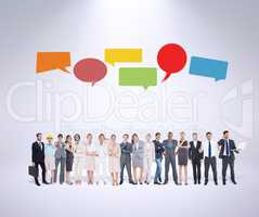 Composite image of multiethnic business people standing side by