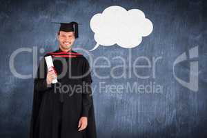Composite image of charming graduate boy with his diploma