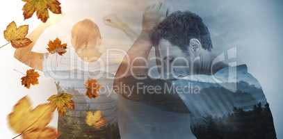 Composite image of depressed woman with hands raised