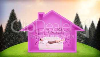 Composite image of well dressed young woman sleeping on sofa