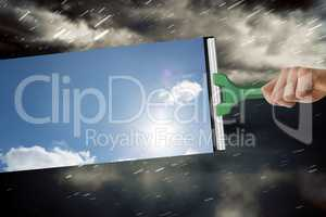 Composite image of hand using wiper