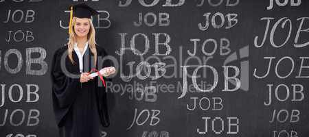 Composite image of smiling blonde student in graduate robe holdi