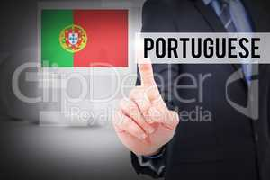 Portuguese against white abstract room