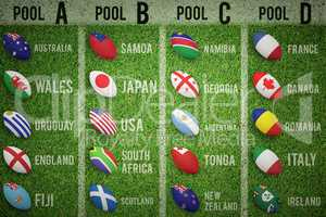 Composite image of rugby world cup pools