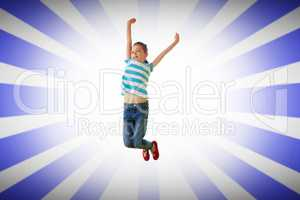 Composite image of cute little girl jumping up