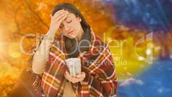 Composite image of sick woman having a migraine
