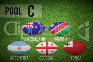 Composite image of rugby world cup pool c
