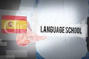 Language school against abstract white room
