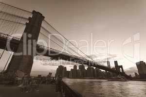 Brooklyn Bridge in sepia tone