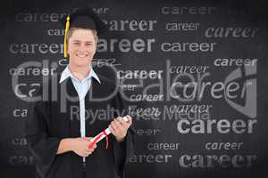 Composite image of man smiling as he has just graduated with his