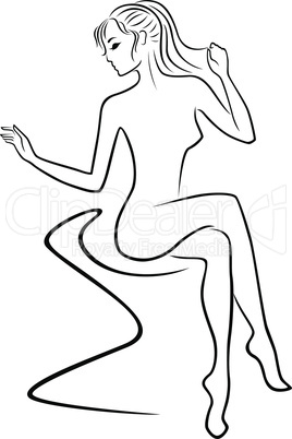 Graceful woman sitting on sofa
