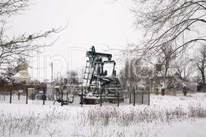 Oil wells at snow