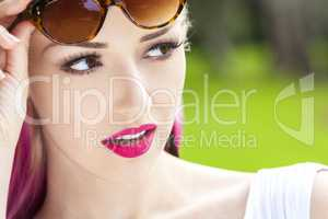 Woman Sunglasses Blond and Magenta Pink Hair