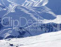 Top view on ski slope at sun day