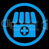 Drugstore flat blue color rounded glyph icon