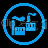 Industry flat blue color rounded glyph icon
