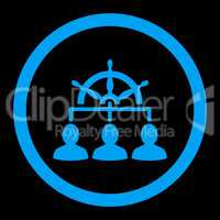Management flat blue color rounded glyph icon