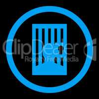 Prison flat blue color rounded glyph icon