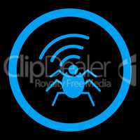 Radio spy bug flat blue color rounded glyph icon