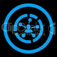 Relations diagram flat blue color rounded glyph icon