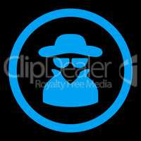 Spy flat blue color rounded glyph icon