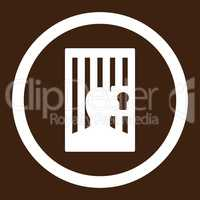 Prison flat white color rounded glyph icon