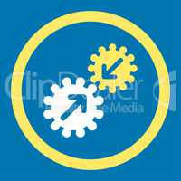 Integration flat yellow and white colors rounded glyph icon