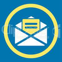 Open mail flat yellow and white colors rounded glyph icon