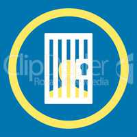 Prison flat yellow and white colors rounded glyph icon