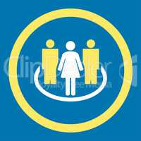 Society flat yellow and white colors rounded glyph icon