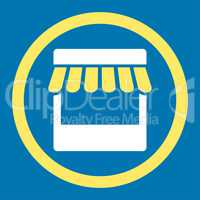 Store flat yellow and white colors rounded glyph icon