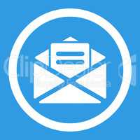 Open mail flat white color rounded glyph icon
