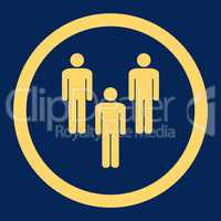 Community flat yellow color rounded glyph icon