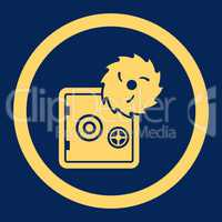 Hacking theft flat yellow color rounded glyph icon