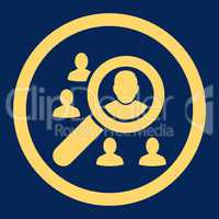 Marketing flat yellow color rounded glyph icon