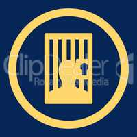 Prison flat yellow color rounded glyph icon