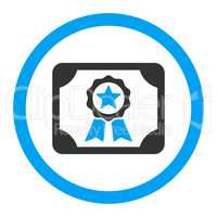 Certificate flat blue and gray colors rounded glyph icon