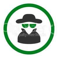 Spy flat green and gray colors rounded glyph icon